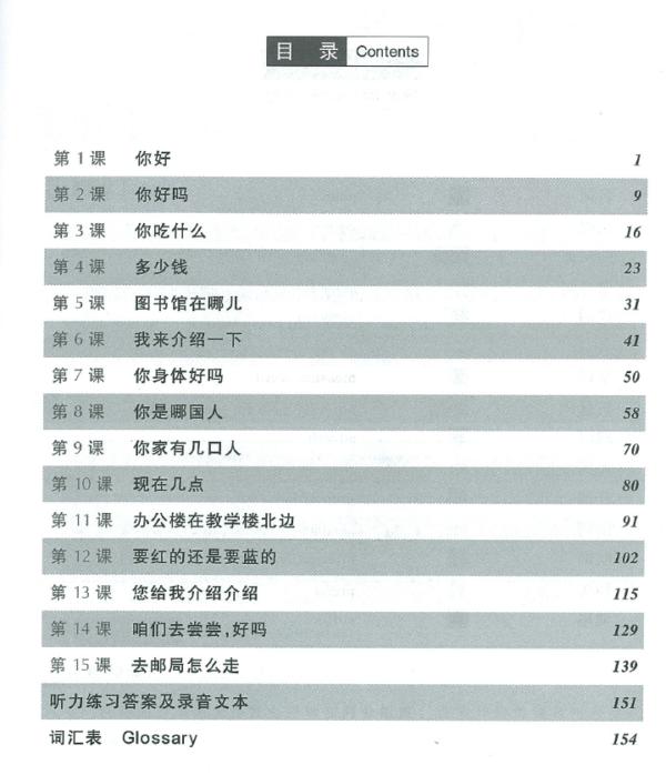 Съдържание на учебник ниво 1 за бързо изучаване на разговорен китайски език